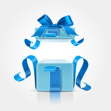 Gift box with ribbon and bow. Isolated on white. Vector illustration Royalty Free Stock Photo