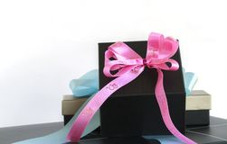 Gift box with ribbon bow. stock photo