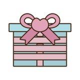 Gift box ribbon bow pink heart stock illustration