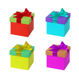 Gift box with ribbon and bow. Present set Stock Image