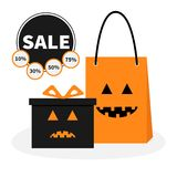 Gift box ribbon and bow. Pumpkin face shopping bag. Gift box ribbon and bow. Pumpkin face shopping bag Present giftbox Big sale halloween advertising banner royalty free illustration