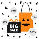 Gift box ribbon and bow. Pumpkin face shopping bag. Present giftbox Big sale halloween advertising banner poster. 10, 30, 50, 75 p. Gift box ribbon and bow vector illustration