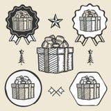 Gift box ribbon bow symbol emblem label collection Royalty Free Stock Photography