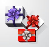 Gift box with ribbon and bow. Three Gift boxes with ribbon and bow. Top view Royalty Free Stock Photography
