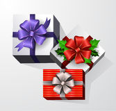 Gift box with ribbon and bow. Three Gift boxes with ribbon and bow. Top view Stock Image