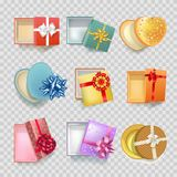 Gift box with ribbon bow vector 3d icons set. Gift boxes with ribbon on decoration bow of different shapes. Modern or vintage round and heart square cardboard Stock Photos