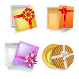Gift box with ribbon bow vector 3d icons set Stock Photo