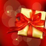 Gift box with ribbon and bow. Stock Photos
