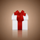 Gift box with ribbon and bow. Vector illustration Stock Photography