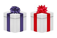 Gift box with ribbon and bow in violet and red color. Realistic giftbox set. Vector. Gift box with ribbon and bow in violet and red color. Realistic giftbox set Royalty Free Stock Image