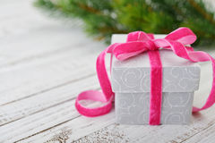 Gift box with ribbon Stock Photos