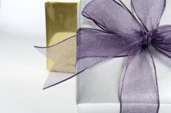 Gift box with Ribbon Close Up Royalty Free Stock Images