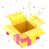 Gift box with ribbon, confetti isolated Stock Photography