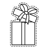 Gift box ribbon cube decorative open cut line Royalty Free Stock Images