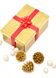 Gift box with ribbon and decoration Royalty Free Stock Photos