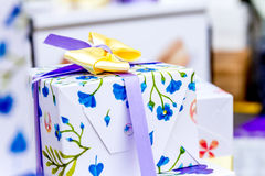 Gift box ribbon decoration Royalty Free Stock Image