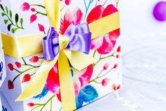 Gift box ribbon decoration Royalty Free Stock Photos