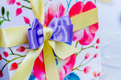 Gift box ribbon decoration Royalty Free Stock Photo