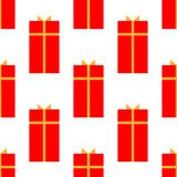 Gift box with ribbon flat icon, vector sign, isolated on white. Seamless holiday pattern royalty free illustration