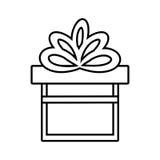 gift box ribbon give party linear Royalty Free Stock Photos