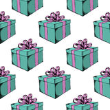 Gift box with ribbon. Hand drawn  stock illustration. Seamless background pattern Stock Images