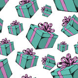 Gift box with ribbon. Hand drawn  stock illustration. Seamless background pattern Stock Photography