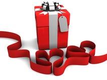 Gift box with Ribbon hearts Stock Image