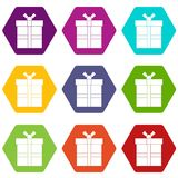 Gift box with ribbon icon set color hexahedron. Gift box with ribbon icon set many color hexahedron isolated on white vector illustration Royalty Free Stock Images