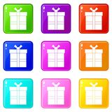 Gift box with ribbon icons 9 set Stock Image