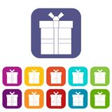 Gift box with ribbon icons set flat Royalty Free Stock Images