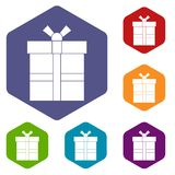 Gift box with ribbon icons set hexagon Royalty Free Stock Image