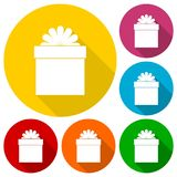 Gift box and ribbon icons set with long shadow Royalty Free Stock Photography