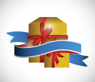 Gift box and ribbon illustration design Royalty Free Stock Image