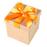 Gift box with ribbon isolated before white Stock Image