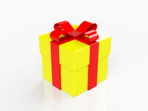 Gift box, with ribbon like a present. over white background Stock Photography