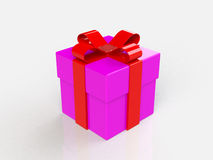 Gift box, with ribbon like a present. over white background Stock Photos