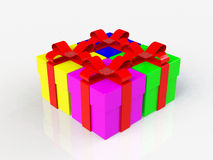 Gift box, with ribbon like a present. over white background Stock Photo