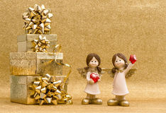 Gift box with ribbon and little angels. Valentines decoration Stock Images