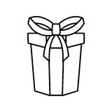 Gift box ribbon parcel shopping linear. Illustration eps 10 Royalty Free Stock Photography