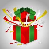 Gift box (ribbon). Red gift box and green ribbon open Stock Image