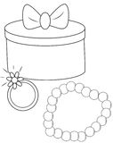 Gift. Box with a ribbon with ring and pearl bracelet vector illustration
