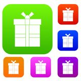 Gift box with ribbon set color collection Royalty Free Stock Images