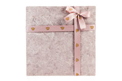 Gift box with ribbon on white background Royalty Free Stock Images