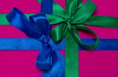 Gift box with ribbons Royalty Free Stock Photos