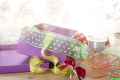 Gift box and ribbons Royalty Free Stock Photo