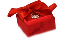 Gift box with ring Royalty Free Stock Image