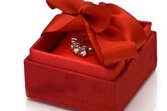 Gift box with ring Royalty Free Stock Photo