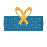 Gift box roll blue dotted bow Royalty Free Stock Image