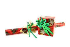 Gift box with roll of paper Stock Photography