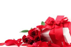 Gift box and rose Stock Photography